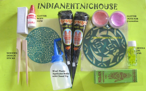 Mehndi Henna Kit Price : Henna tattoo kit natural herbal cone temporary body art mehndi