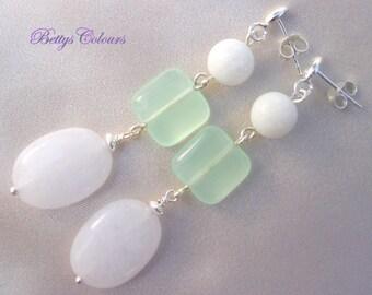 20% SALE Sterling silver earrings, amethyst earrings,aventurine earrings, white jade earrings, dangle earrings