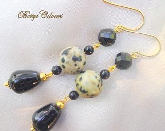 Onyx earrings, jasper earrings,dangle earrings, teardrops earrings,dalmatian jasper, black onyx