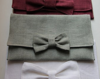 Linen Gift Envelope Decorated with a Bow - Wedding Gift Envelope - only menthol color available