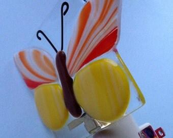 Orange Butterfly Fused Glass Night Light