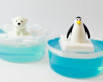 Polar Bear or Penguin on iceberg soap, child's birthday gift, stocking stuffer soap, party favor