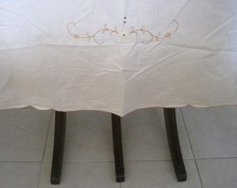 Vintage Tablecloth Embroidered Extra Long 98 x 65 inches Gold Daisies on White Tablecloth Autumn Flowers, Banquet Length