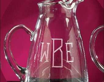 Pitcher, Glass Pitcher, Pouring Pitcher, Iced Tea Pitcher, Monogrammed Pitcher, Engraved Pitcher, Personalized Pitcher, 65 ounces