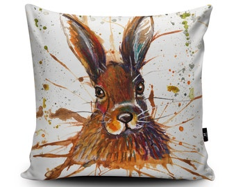 Hare Cushion, Hare Pillow, Rabbit Cushion, Rabbit Pillow, Animal Pillow, Hare Illustration Home Decor, 45cm/60cm, Faux Suede Cushion