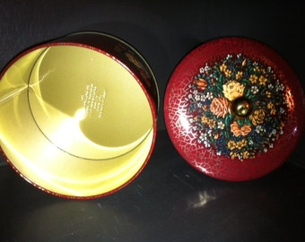 Lovely Red Round Tin Made - Designed by Daher Made in England - Mid Century Canister English Tins