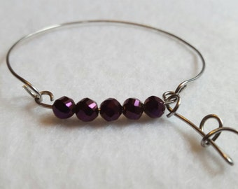 Personalized Amethyst Czech Glass Beaded Letter Bangle Bracelet/Bridesmaid Gifts