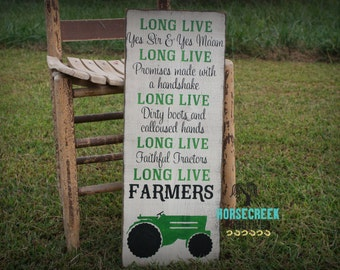 "Green Tractor ""Long Live Farmers"" Handpainted Wood SIgn, Farming, Country decor, Red tractor"