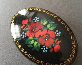 Vintage Lacquer Brooch Pin Russian Hand Painted Floral Signed