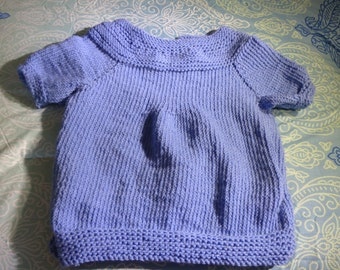 Perfectly Periwinkle-- Short Sleeved Tunic Sweater