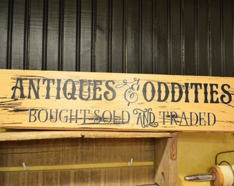 Antiques & Oddities Drawer Front Wood Sign