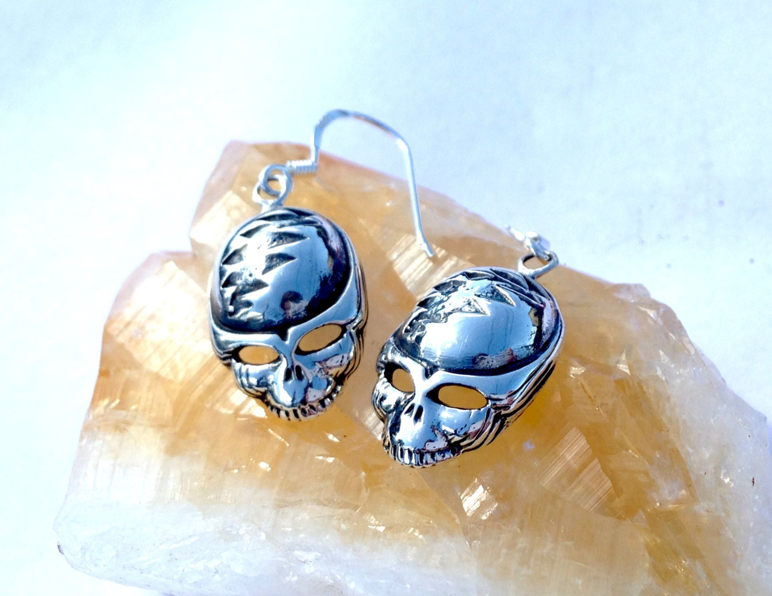 Grateful Dead Steal Your Face Earrings! 925 Sterling Silver! Hand Cast!  Owsley Stanley! Lsd Furthur Phish Dead And Co Jerry Garcia