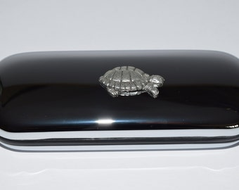 Tortoise Glasses Case with solid Pewter Tortoise emblem!