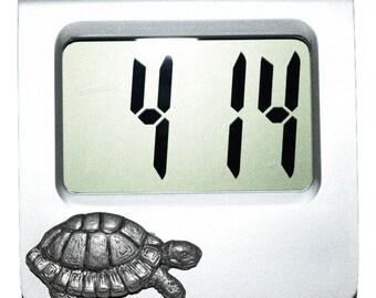 Tortoise Clock Desk/Alarm Clock with Pewter Tortoise Animal Gift