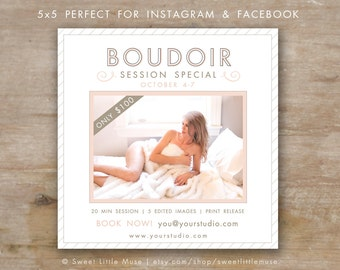 Photography marketing template - 5x5 boudoir template - boudior mini session template for Instagram, Facebook and Email