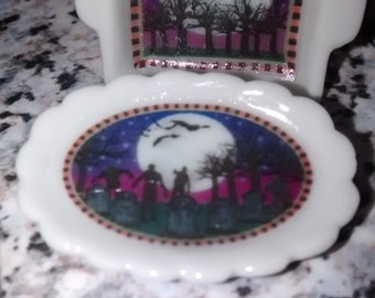 Dolls House miniature ceramic oval platter dish. Halloween grave yard with zombies