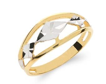 14k solid gold TT fancy ring. diamond cut ring.