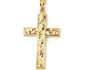 14K Solid Yellow Gold Fancy Diamond Cut Cross Pendant