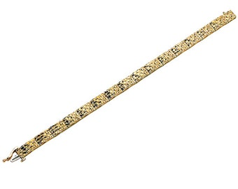 14k yellow gold diamond cut bracelet.