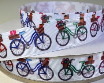 """7/8"""" Bicycle Print Grosgrain Ribbon"""
