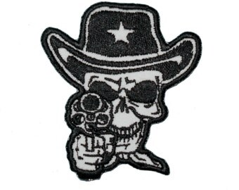 Sheriff Death Skull with Six Shooter Cowboy iron on patch embroidered biker Logo