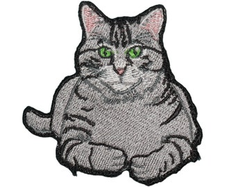 Tabby Cat Embroidered Iron On - Sew On Emblem Gray with Black Cute Kitty Patch