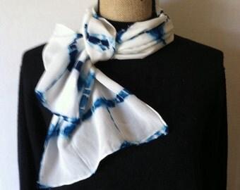 Shibori dyed silk scarf