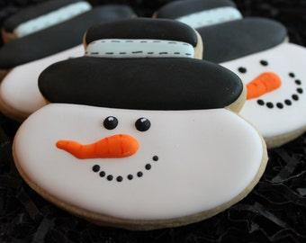 Snowman cookies, snowman sugar cookies, Christmas cookies, winter cookies, holiday cookies, Christmas Custom cookies