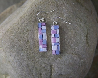 Mosaic Earrings: Purple Bling