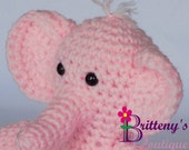 Pink Elephant  Pink Elephant Stuffed Animal  Crochet Pink Elephant Stuffed Animal  Crochet Plush Pink Elephant Toy  Elephant Snuggly Pal