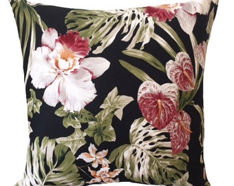 summer orchid black cushion