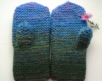 Hand knitted chunky mittens for women, pink blue,green, brown mitts, rustic knit, touchscreen/ texting gloves, warm mittens READY TO SHIP