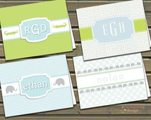 Baby Boys' Personalized Stationery - Folded Note Cards with Envelopes - Choose 1 Design