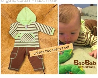 Organic Baby Clothing : Hoodie Set Foresta
