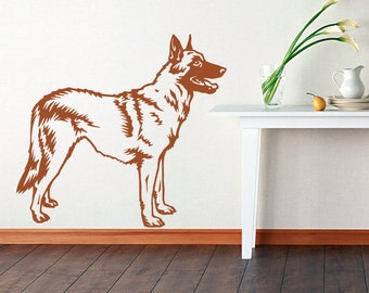Dog Decal Malinois Policeman, Vinyl Sticker Decal - Good for Walls, Cars, Ipads, Mirrors Etc