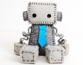 Felt Robot Plush with a Turquoise Blue Tie or Pick Your Color - Geek Plush - Robot Nursery Decor or Geek Dad Gift