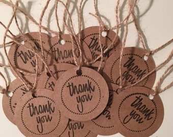 Hand-stamped, Thank You, Round Favor Tags, set of 12, party favors, labels