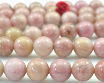 47 pcs of Pink Rhodonite smooth round beads in 8mm (03260#)