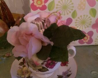 Vintage tea cup and saucer arrangement