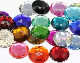 25mm Round Acrylic Jewels For Costume Making and Mosaic Art Flat Back Acrylic Rhinestones High Quality Pro Grade - 21 Colors