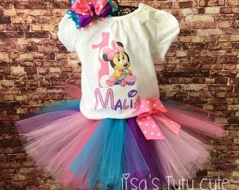 Baby Minnie tutu outfit. Minnie birthday outfit. Baby Minnie birthday. First Birthday tutu. First birthday outfit. Minnie Birthday.