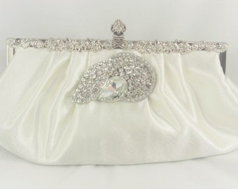 Ivory Wedding Clutch, Crystal Bridal Handbag, Bridal Clutch Bag, Swarovski Crystal Clutch, Elegant Wedding Purse, Ivory Satin Evening Clutch