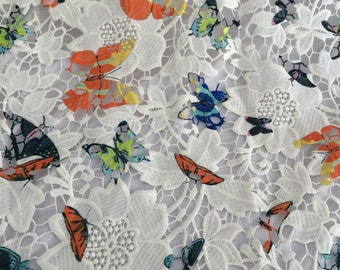 Butterfly lace fabric - White Floral Lace- floral lace fabric - Butterfly Lace Fabric  - White Floral Lace Fabric -L123