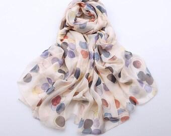 Silk Chiffon Scarf with Colorful Polka Dot Print - Colorful Dot Printed Silk Scarf - AS2015-60