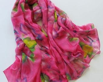 Floral Silk Scarf - Fuchsia Silk Chiffon Scarf - Sky Blue Floral Silk Scarf - Floral Silk Scarf - AS2015-63