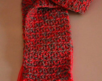 Grey scarf and coral/coral and grey wool SCarf