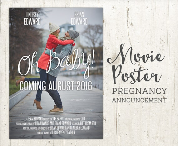 items similar to pregnancy announcement baby announcement movie poster sign pregnancy. Black Bedroom Furniture Sets. Home Design Ideas