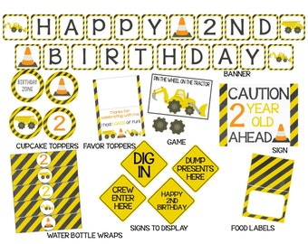 Tractor 2nd Birthday Decorations-Printable Party Set