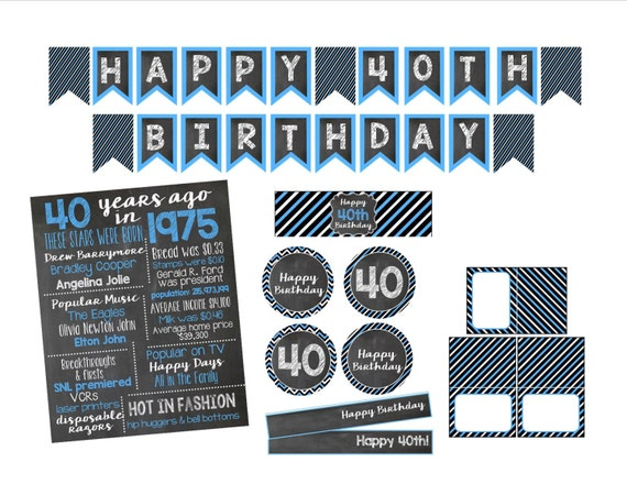40th Birthday Decorations Printable Items