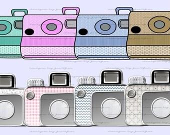 Mixed Cameras Collection Elements Digital Clip Art Graphics Set #J4FC81